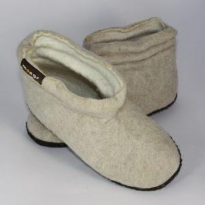 Warme Hausschuhe aus Filz mit Ledersohle und gestauchtem Schaft für Damen in der Farbe Beige - Lady Mongs Beige